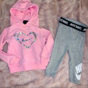 Pink gray nike hoodie leggings set 2t
